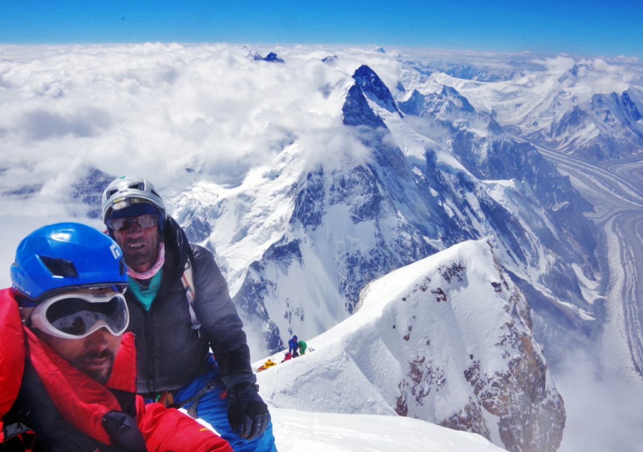 Sirbaz Khan after reaching the summit of K2.