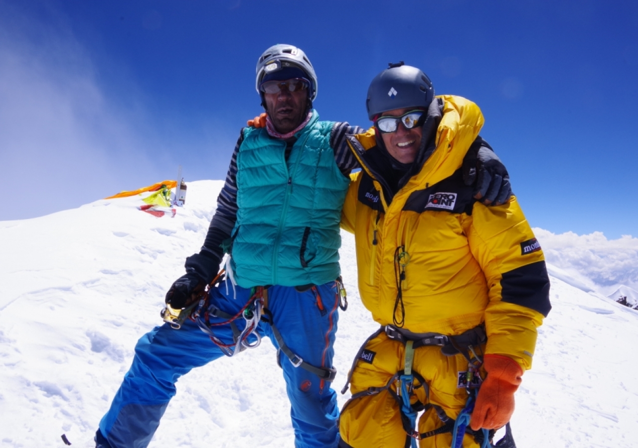 Fazal Ali after reaching the top of K2 - the world's second highest mountain.