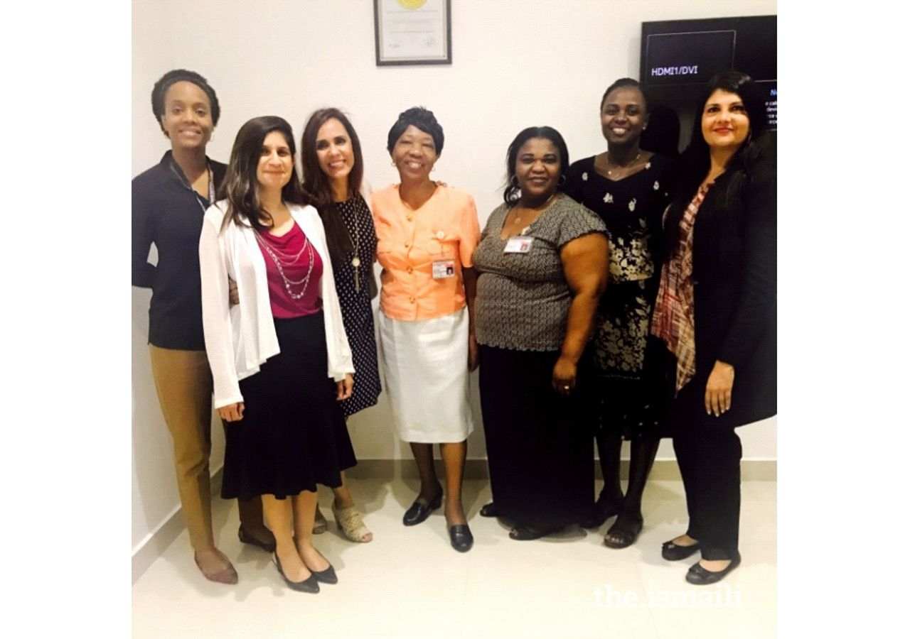 INA team  with Nursing Leadership at Aga Khan Hospital, Dar es Salaam. From left to right: Aika Mongi, Salima Allahbachayo, Mehrunnissa Taj, Lucy Hwai, Pudensia Amima, Lucy Adhiambo, Dr Fozia Ferozali.