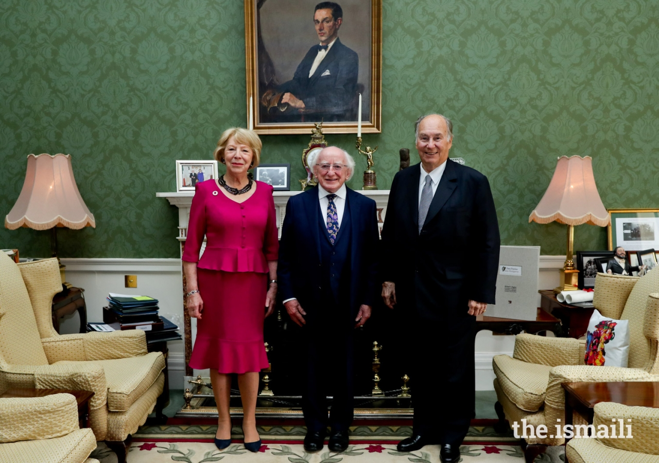 Mawlana Hazar Imam with His Excellency President Michael Higgins of Ireland and his wife Sabina Mary Coyne at their official residence Áras an Uachtaráin.