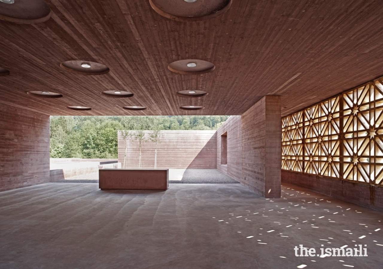 An Islamic Cemetery in Altach, Austria was presented with an Aga Khan award in 2013. Visitors are greeted by a congregation space with its wooden latticework in geometric Islamic patterns.