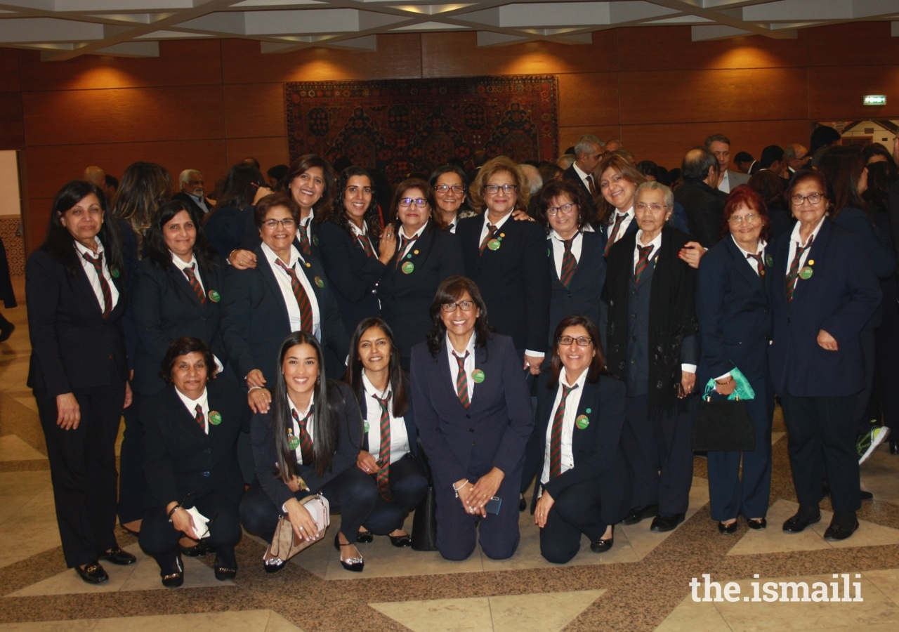Volunteers in Lisbon gather for a group photo at the dinner to celebrate 100 years of the Ismaili Volunteer Corps.