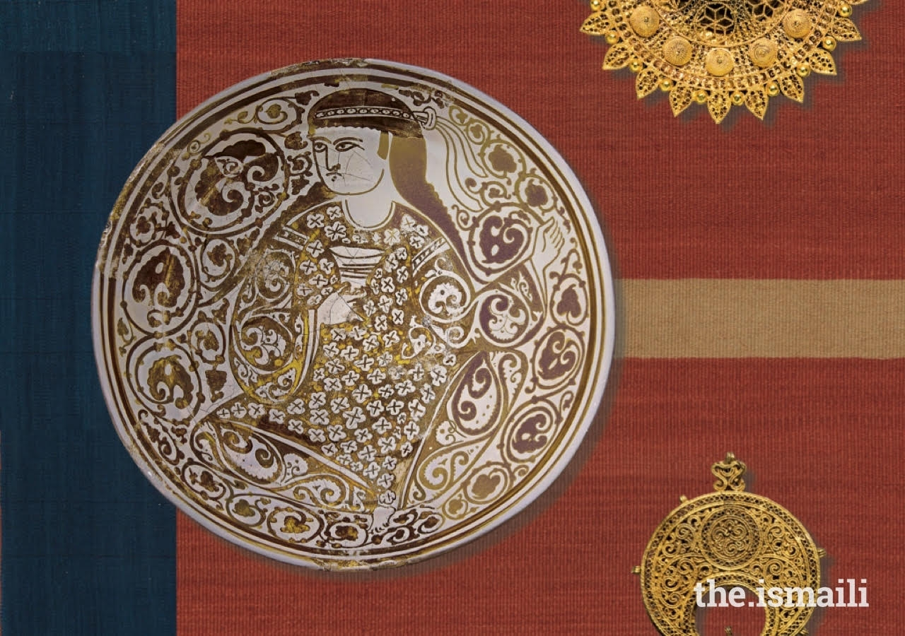 Fatimid women owned land, property, jewelry, and textiles, one of the most prized commodities of the period. Made in Egypt in the 11th century, this lustre-painted dish depicts a richly-attired female figure holding a cup. The vegetal scroll-like patterns of her sleeves are mirrored in the dish's overall decoration.