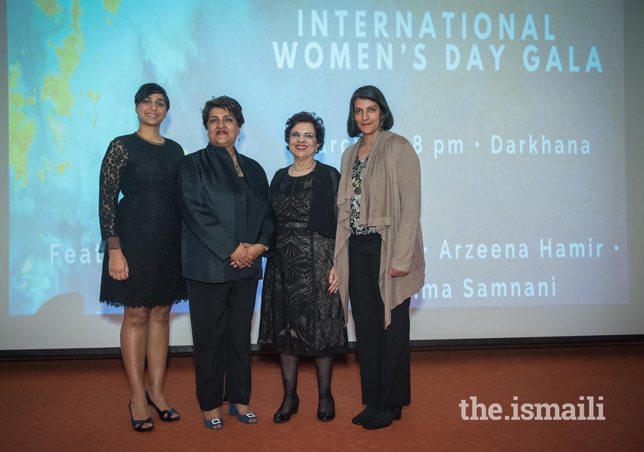 International Women's Day speakers (left to right) Salima Samnani, Karima Es Sabar, Hon. Mobina Jaffer and Arzeena Hamir.