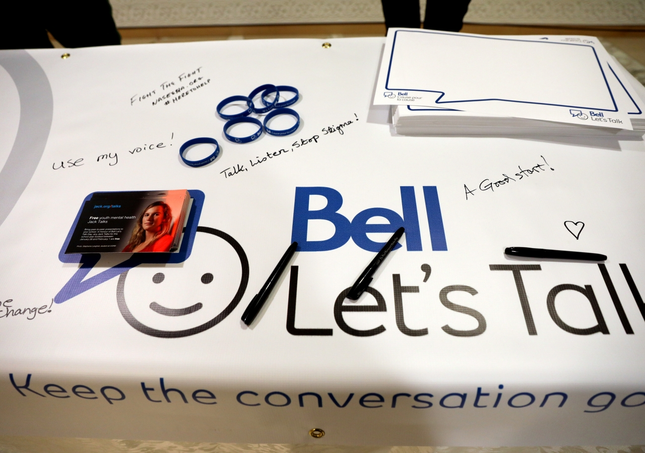 Attendees had the opportunity to share a pledge on how to end the stigma around mental illness in support of Bell Let's Talk Day
