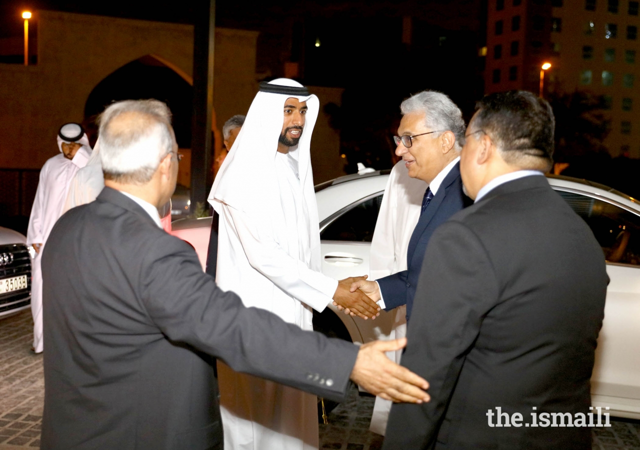 His Excellency Sheikh Mohamed Nahayan Mabarak Al Nahayan being received by the President and Vice President of The Ismaili Council  of United Arab Emirates