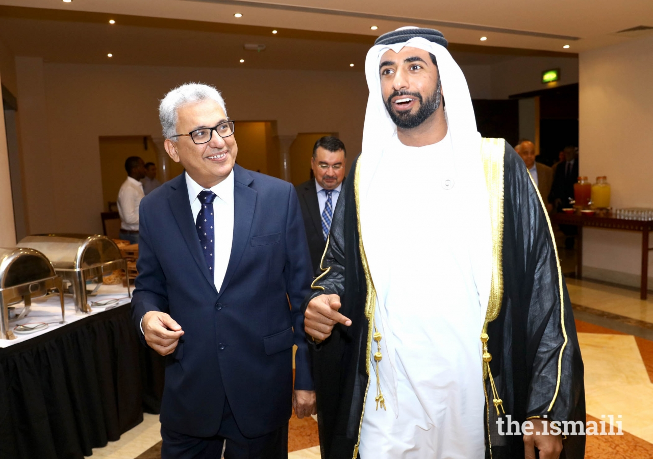 His Excellency Sheikh Mohamed Nahayan Mabarak Al Nahayan and President of The Ismaili Council of United Arab Emirates Amiruddin Thanawalla