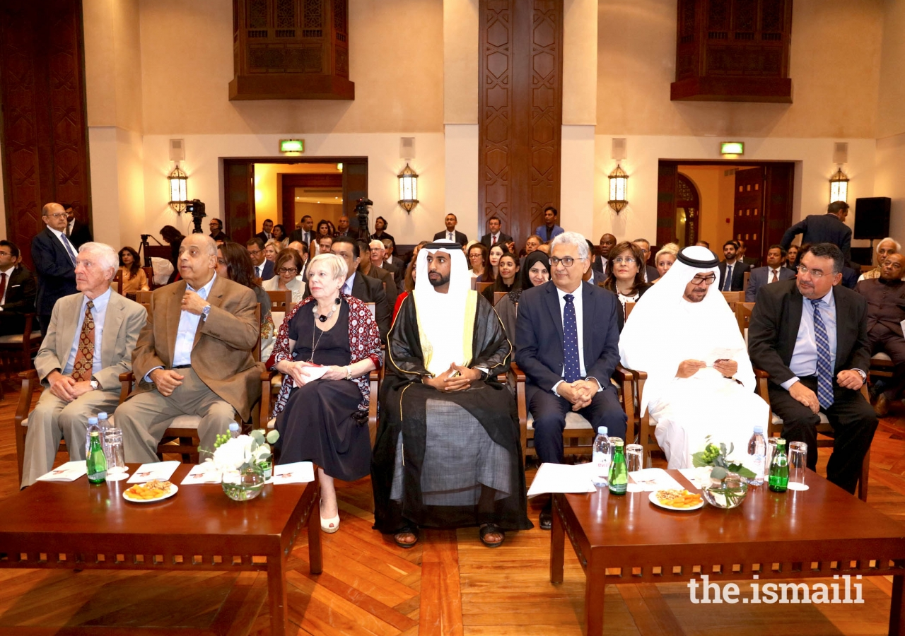 His Excellency Sheikh Mohamed Nahayan Mabarak Al Nahayan, Dr. Karen Armstrong and President of The Ismaili Council of United Arab Emirates