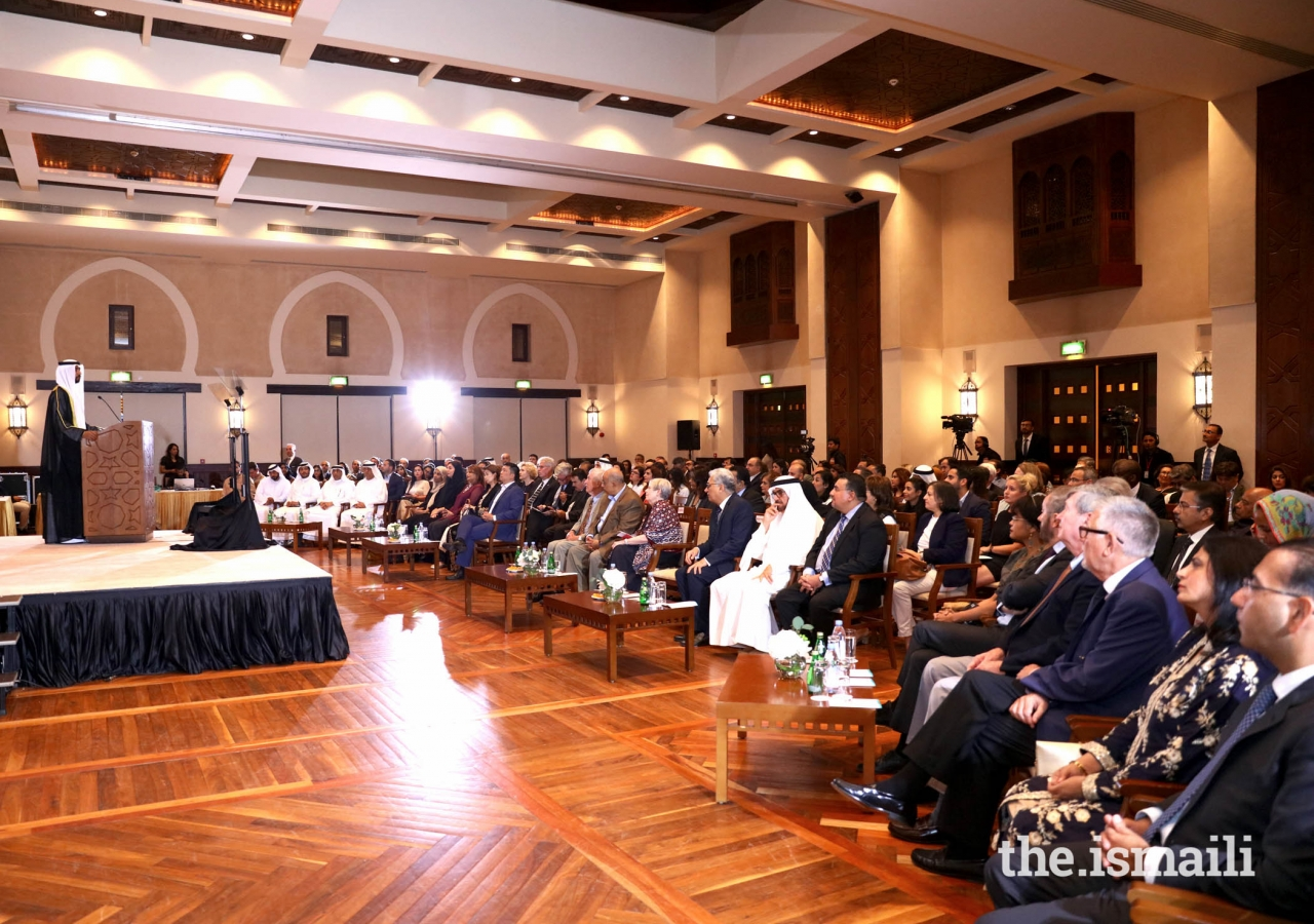 His Excellency Sheikh Mohamed Nahayan Mabarak Al Nahayan addressing various dignitaries and guests at The Inaugural Ismaili Centre  International Lecture at The Ismaili Centre, Dubai, United Arab Emirates