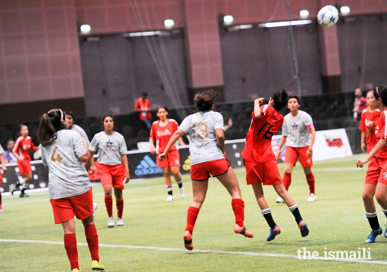 USA vs Canada compete in a football match at the Jubilee Games hosted in Dubai in 2016.