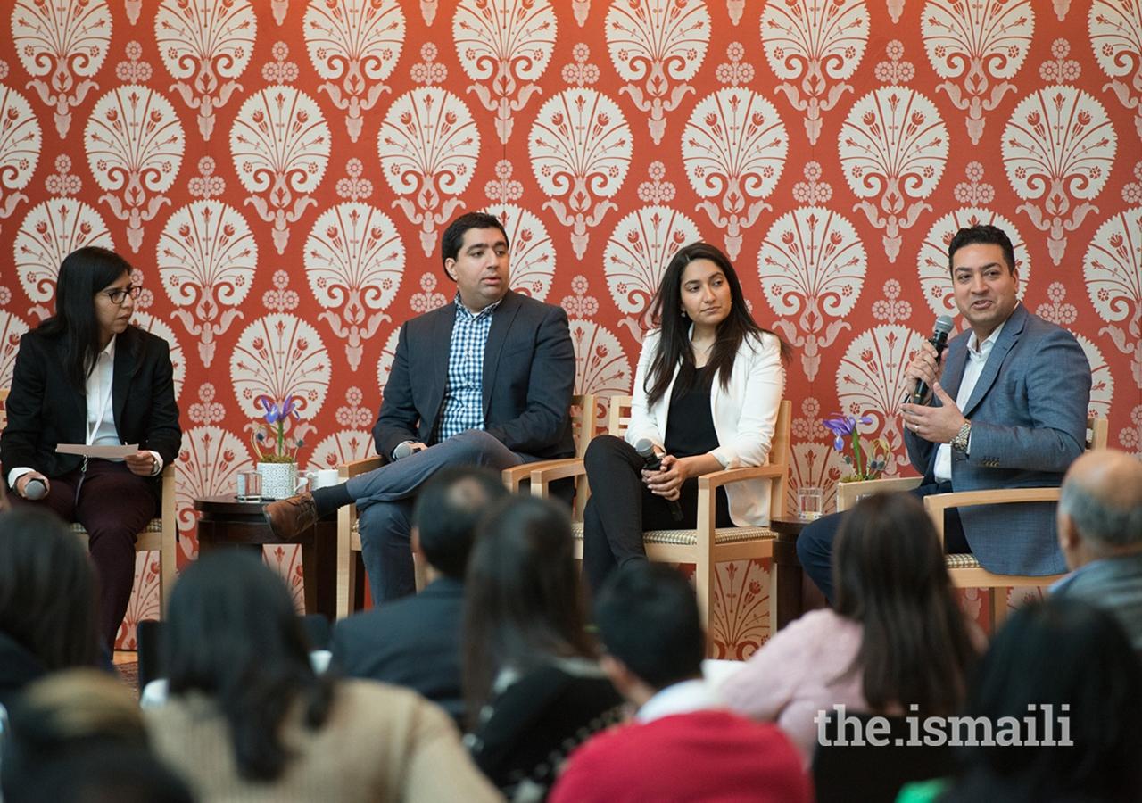 Panelists at the Ismaili Centre Toronto included Zain Gulamali, Karima Ladhani, and Rahim Moosa.