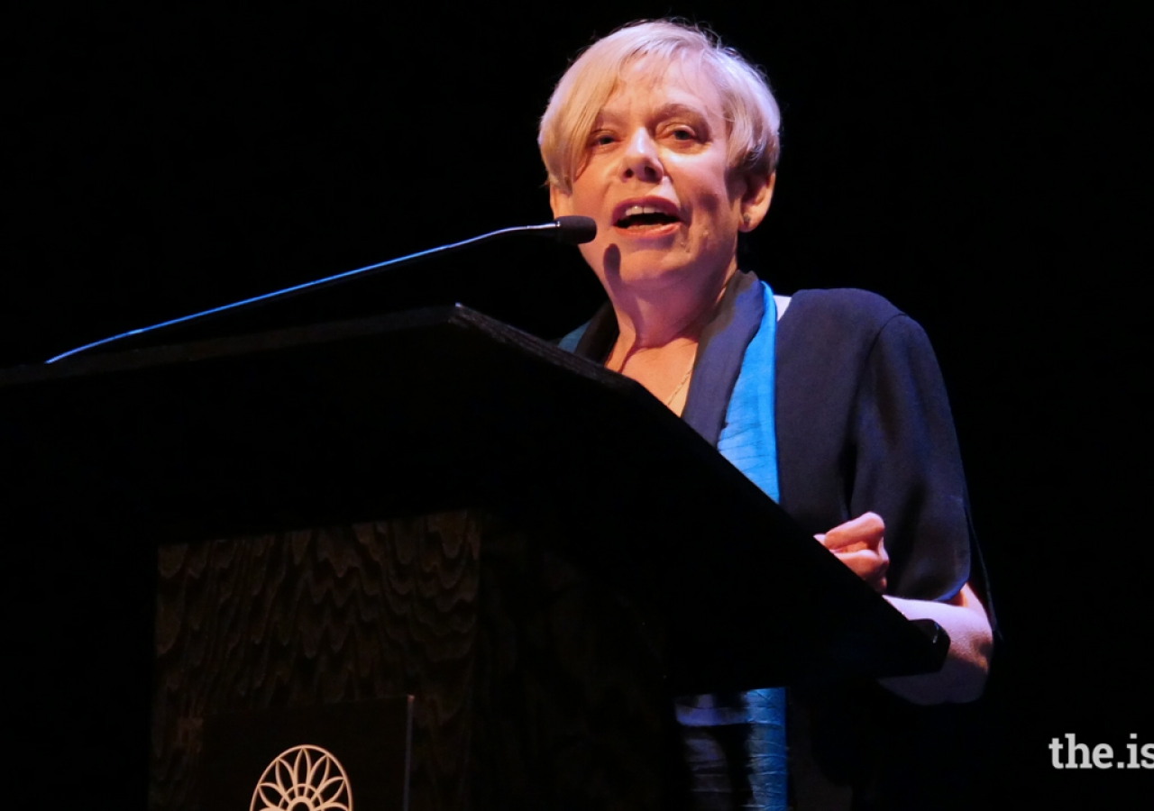 "Karen Armstrong speaking at the 2016 Festival of Faiths - ""Sacred Wisdom Pathways to Nonviolence, Louisville, KY."