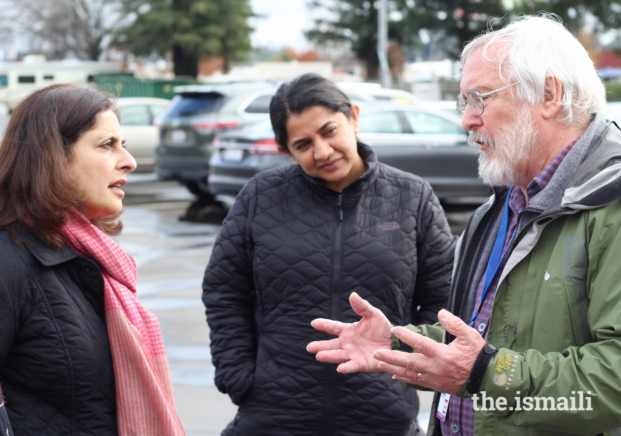 President Muneerah Merchant discusses the impact of the wildfires and the need for volunteers with Bruce Bailey (AmeriCorps) and Chairman Shamsah Malik.