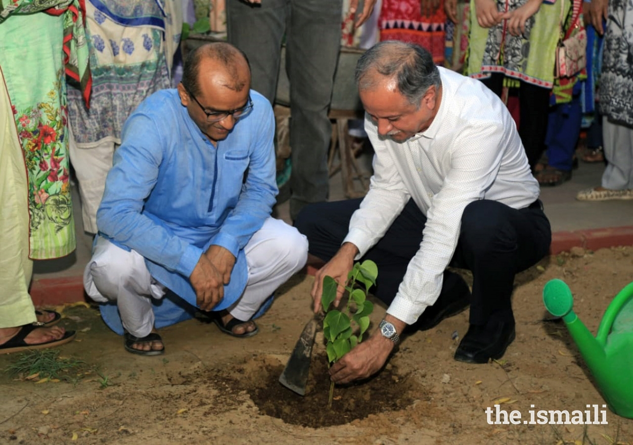 Jamati leaders participated in the tree planting drive to commemorate Pakistan's Independence Day.