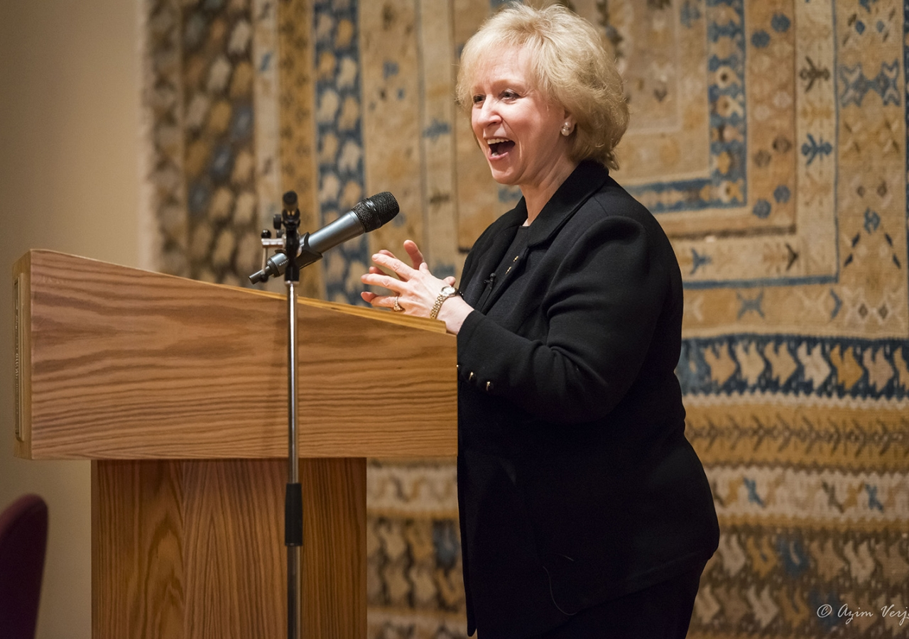 Former Canadian Prime Minister Kim Campbell delivers an Ismaili Centre Lecture in Vancouver. Azim Verjee