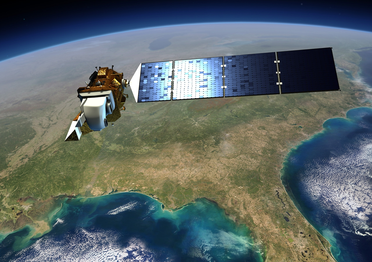 Landsat 8 satellite that collects valuable data and imagery to be used in agriculture, education, business, science, and government.