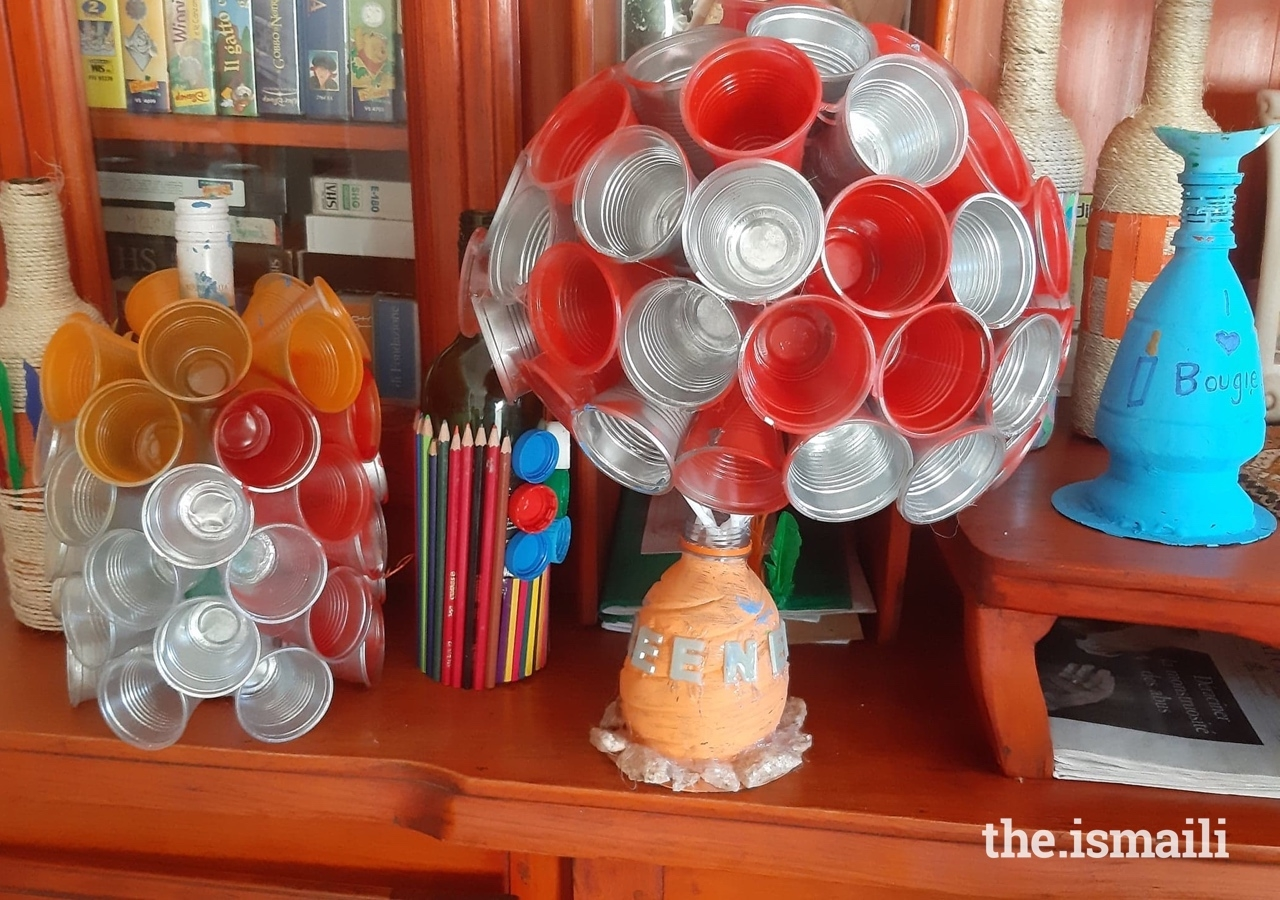 Examples of objects created with recycling materials for the orphanage.