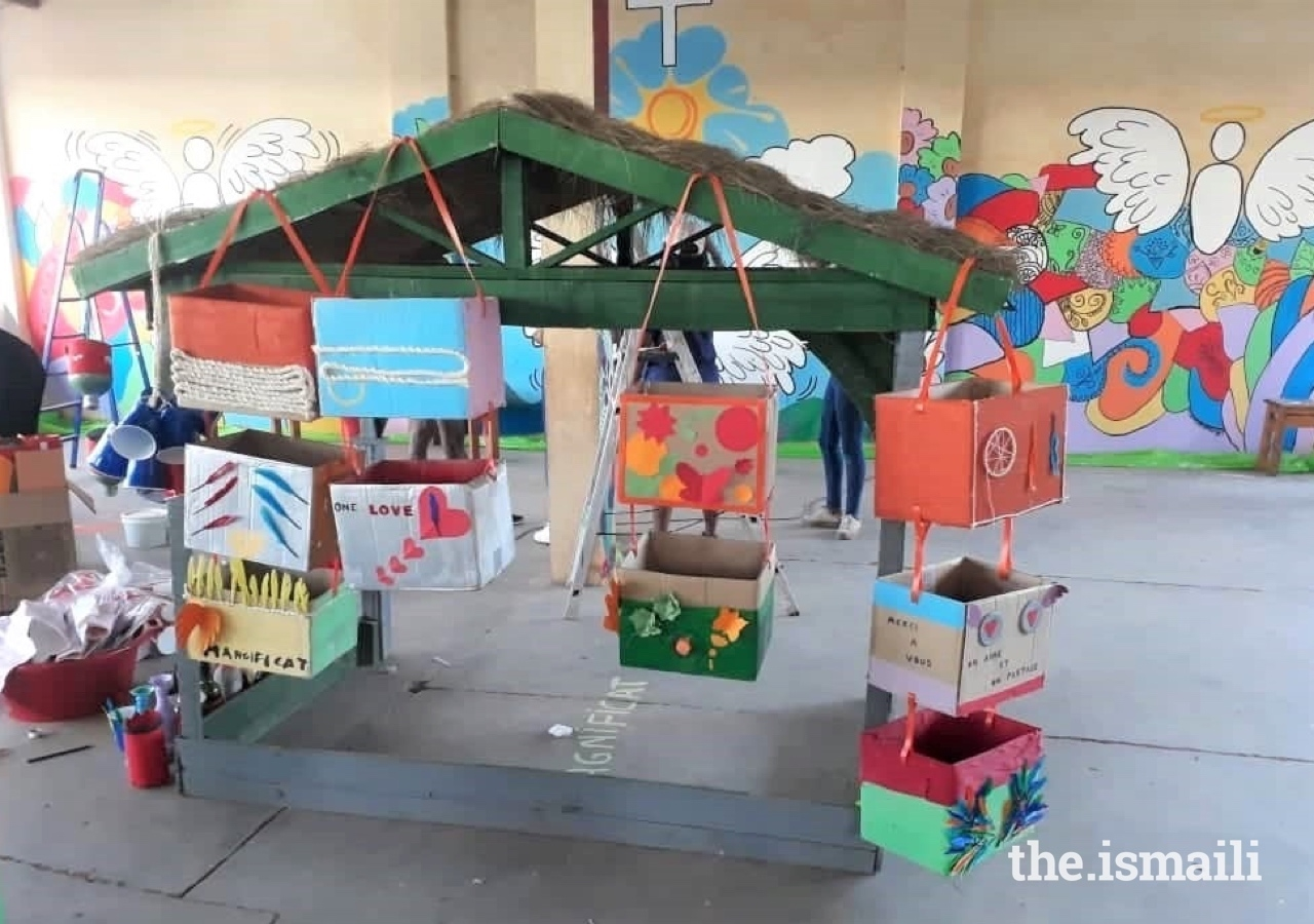 Storage items made by participants with recycling materials for the orphanage.
