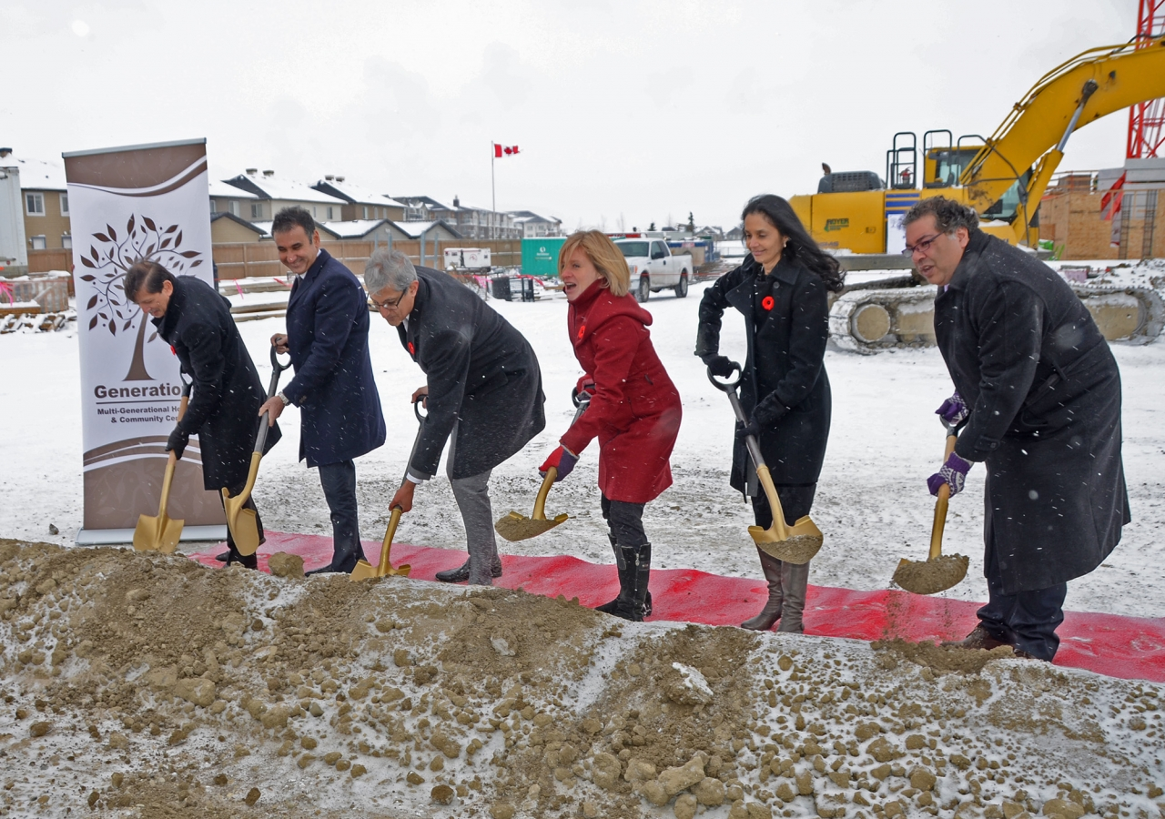 Left to right: Nashir Samanani, Ameeraly Kassim-Lakha, Malik Talib, Rachel Notley, Fauzia Lalani-Khudabux, and Naheed Nenshi during the groundbreaking ceremony for Generations Phase II.