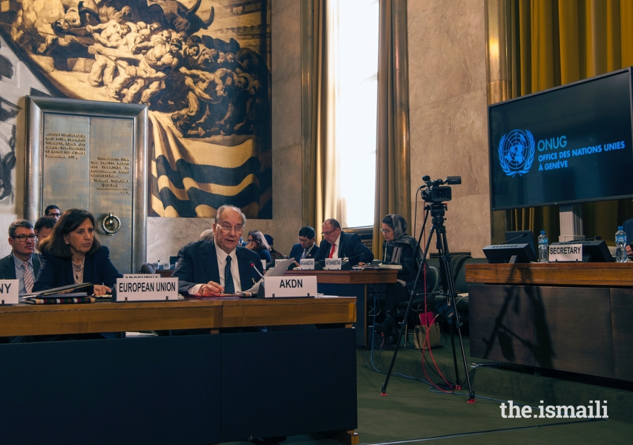 Mawlana Hazar Imam delivers his statement on behalf of the Imamat and the AKDN at the UNAMA Geneva Conference on Afghanistan.