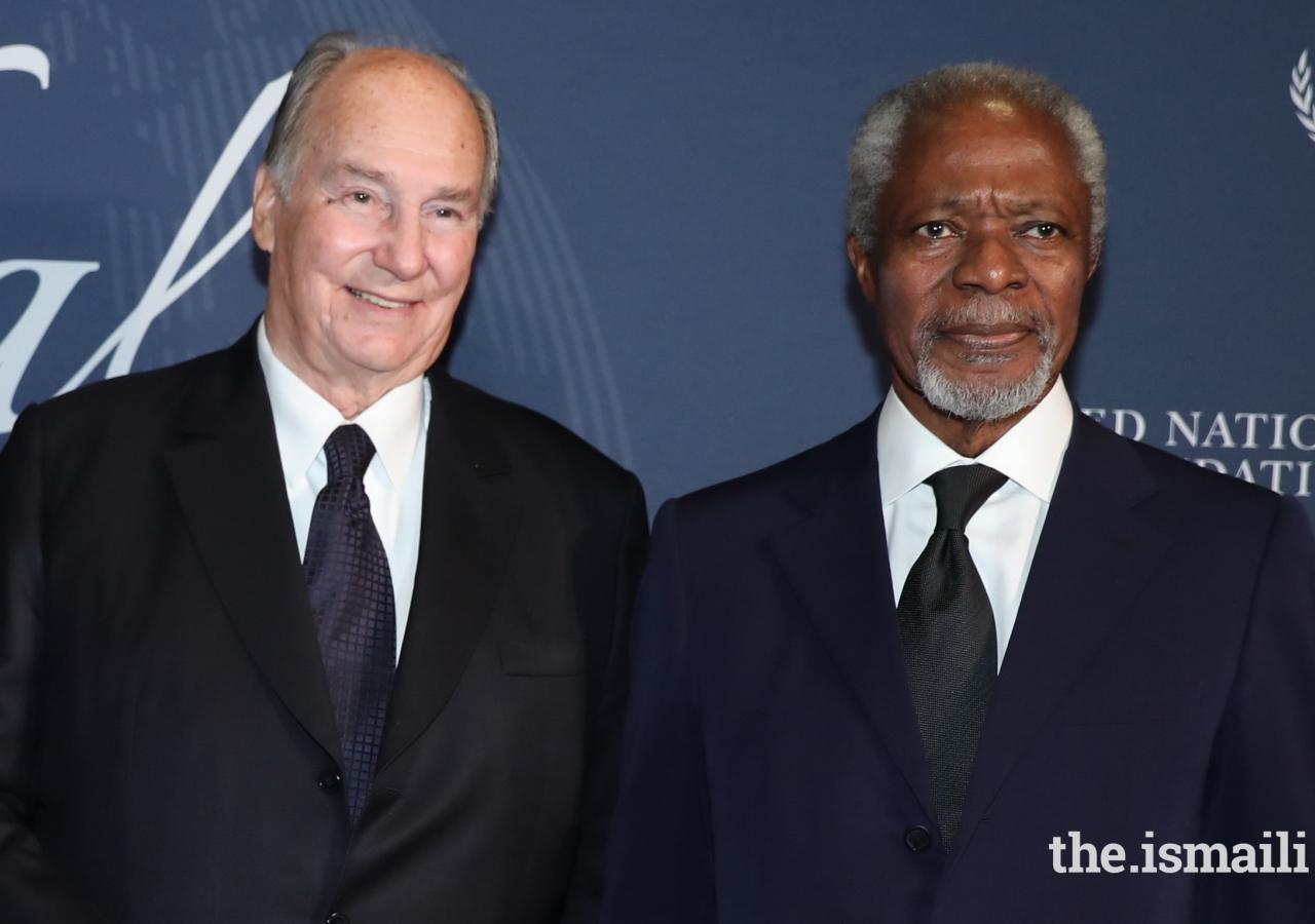 Mawlana Hazar Imam and the late Kofi Annan in New York, 18 October 2017.