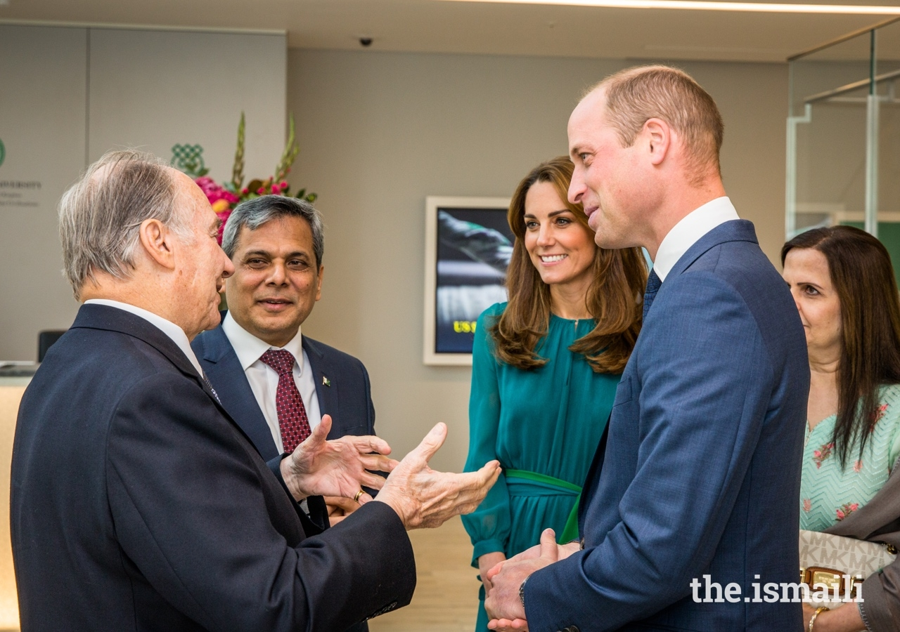 Mawlana Hazar Imam in conversation with Their Royal Highnesses, and the High Commissioner of Pakistan to the UK, His Excellency Mohammad Nafees Zakaria.