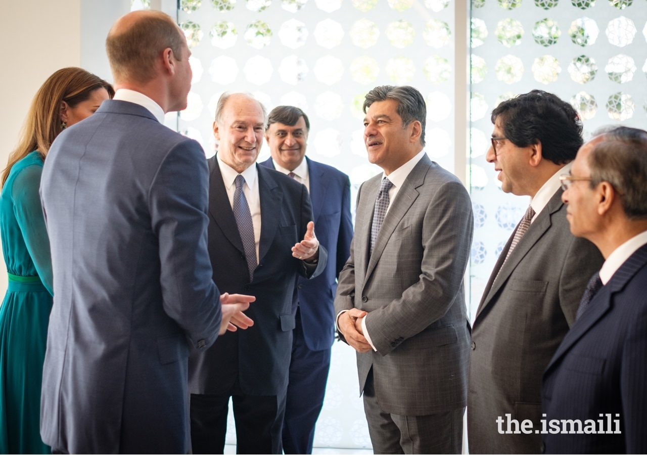 Mawlana Hazar Imam introduces Duke and Duchess of Cambridge to Naushad Jivraj, President of the Ismaili Council for the UK.