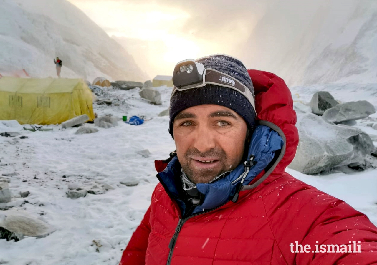 Mirza Ali at Camp 3 of Mount Everest (22,000 ft). Mirza and his sister Samina work to promote gender equality through education and adventure sports in Pakistan.