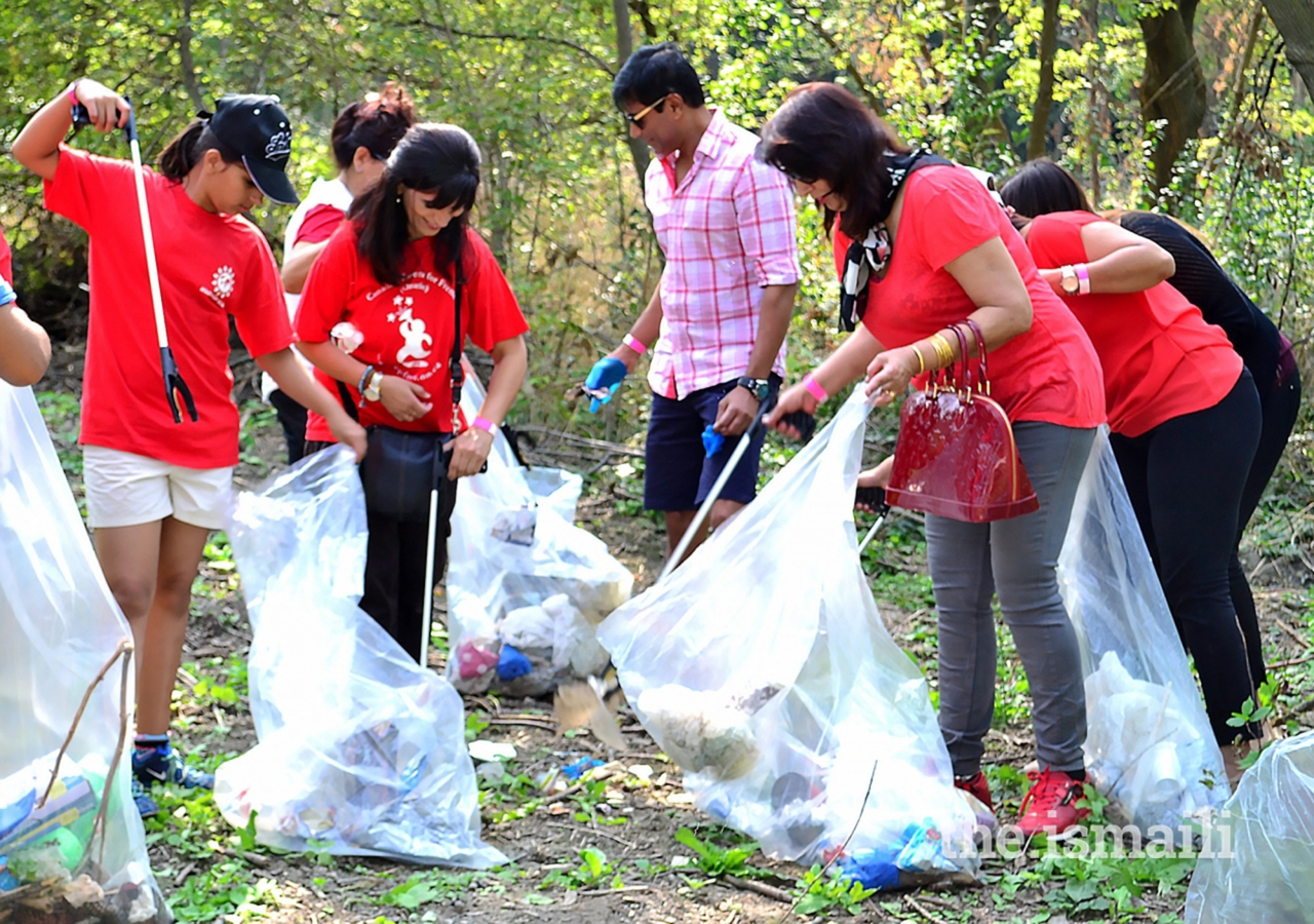 Volunteers clean parks as part of the Ismaili CIVIC 150 initiative in Mississauga.