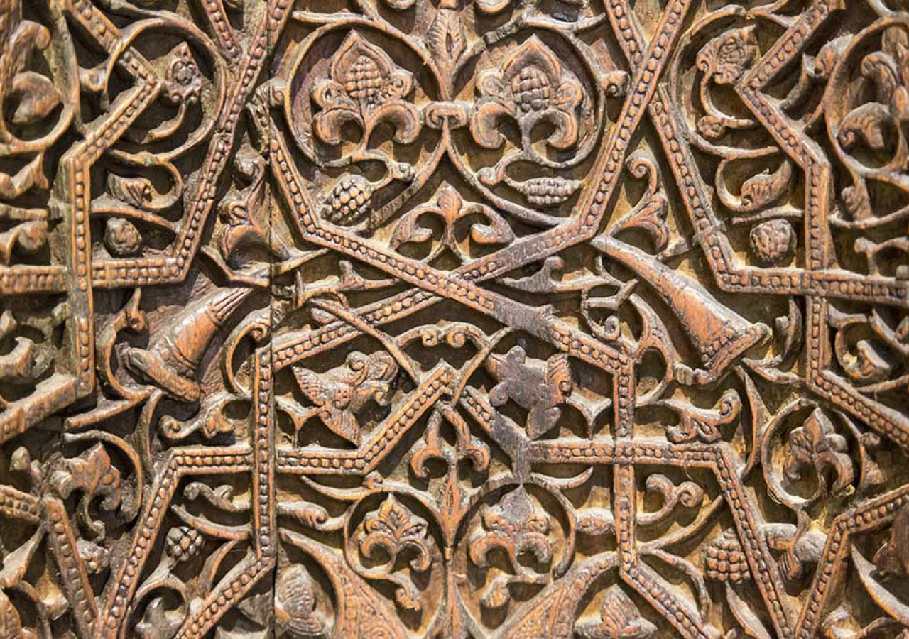 Detail of the portable wooden mihrab from the mausoleum of Sayyida Nafisa, great granddaughter of Hazrat Hasan, who was married to a son of Imam Jafar al-Sadiq. Now in the Museum of Islamic Art in Cairo. Bernard O'Kane