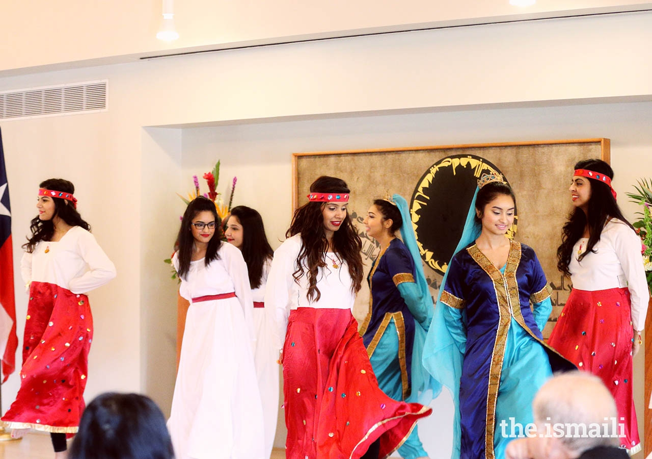The Ismaili Dance Ensemble performing on Navroz for guests at the Ismaili Jamatkhana and Center, Houston.