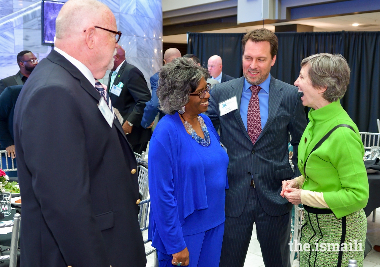 Host Committee Chairs, Dr. Jacqueline Royster, Dean of Ivan Allen College at Georgia Institute of Technology, and Doug Shipman, President, and CEO of the Woodruff Arts Center, along with Ann Cramer at the Day of Religious Pluralism event.