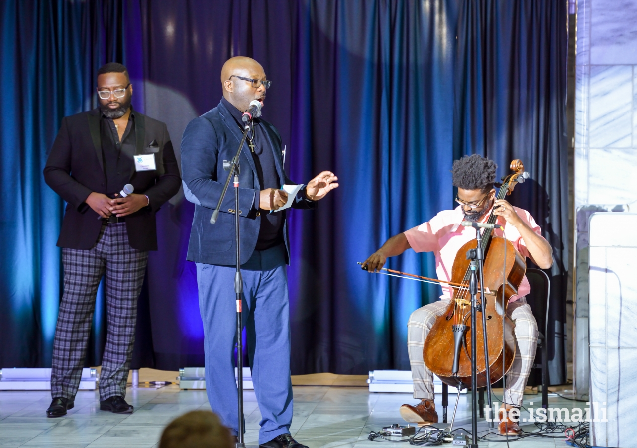 Tavares Stephens, Okorie Johnson, and Cleveland Johnson, a poet, cellist and singer trio performed a piece inspired by Beauty in Harmony theme.