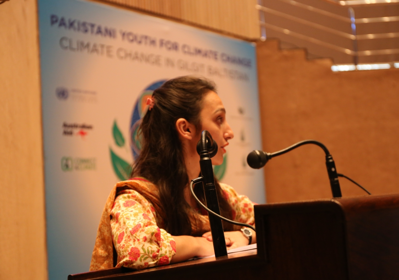 AKHSS, Kuragh alumna, Nazish Amir, speaks at the Pakistani Youth for Climate Change Workshop in Islamabad