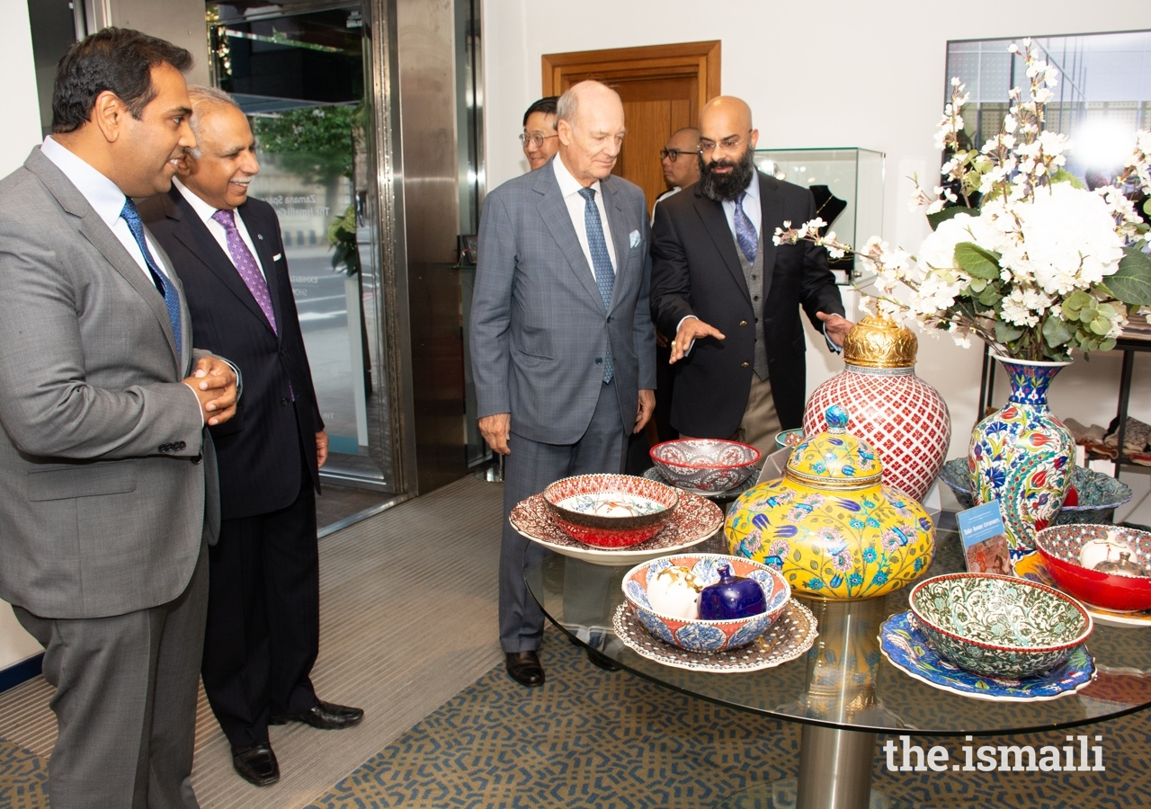 Prince Amyn tours the Aga Khan Museum's pop-up store at the Ismaili Centre, London.