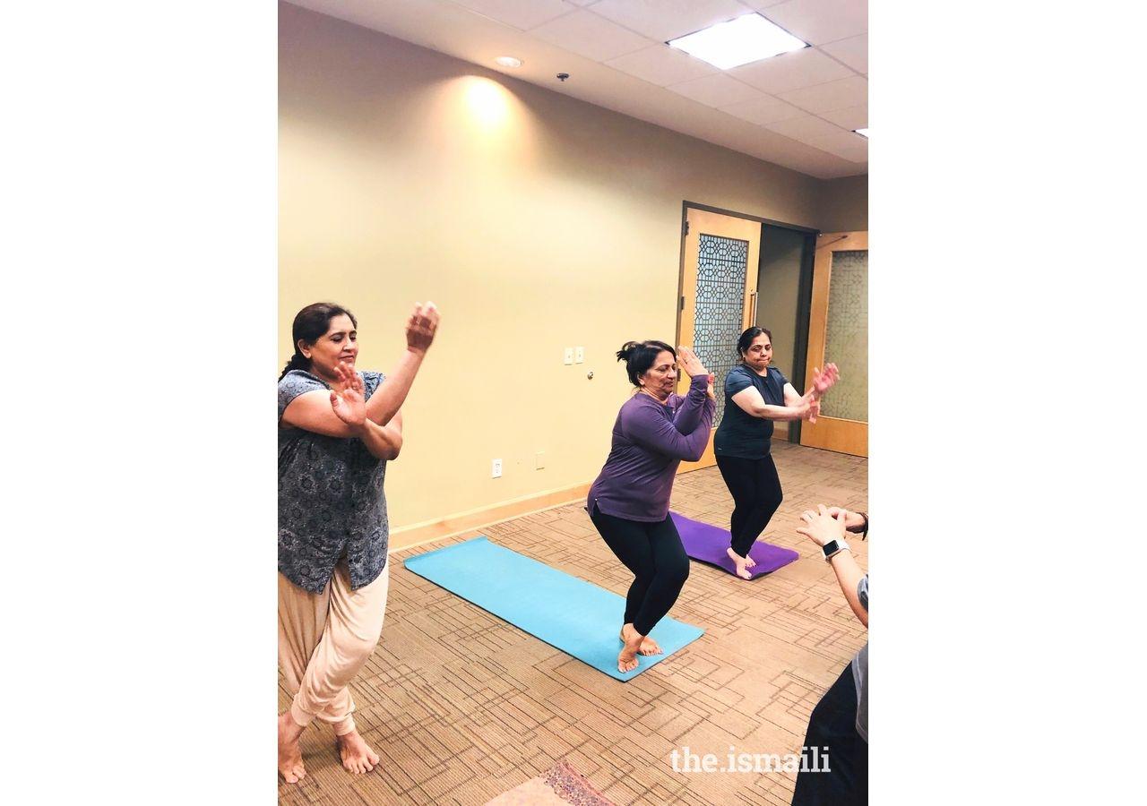 Parveen Punjani in a Move 2B fit yoga session at Atlanta HQ Jamatkhana.