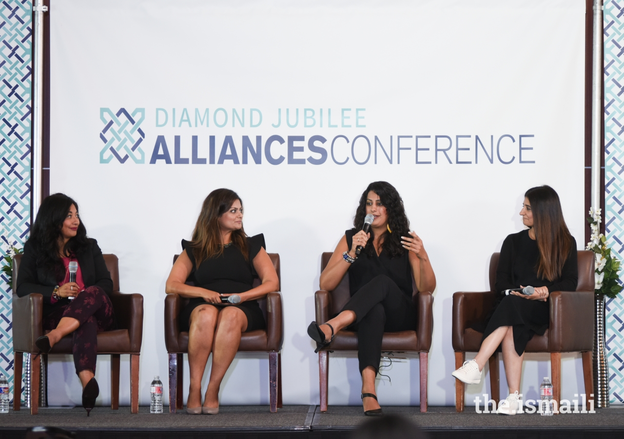 Farzana Nayani, Illy Jaffer, Saleema Vellani, and Amal Merali during an inspirational panel discussion about women in leadership share their stories of success.