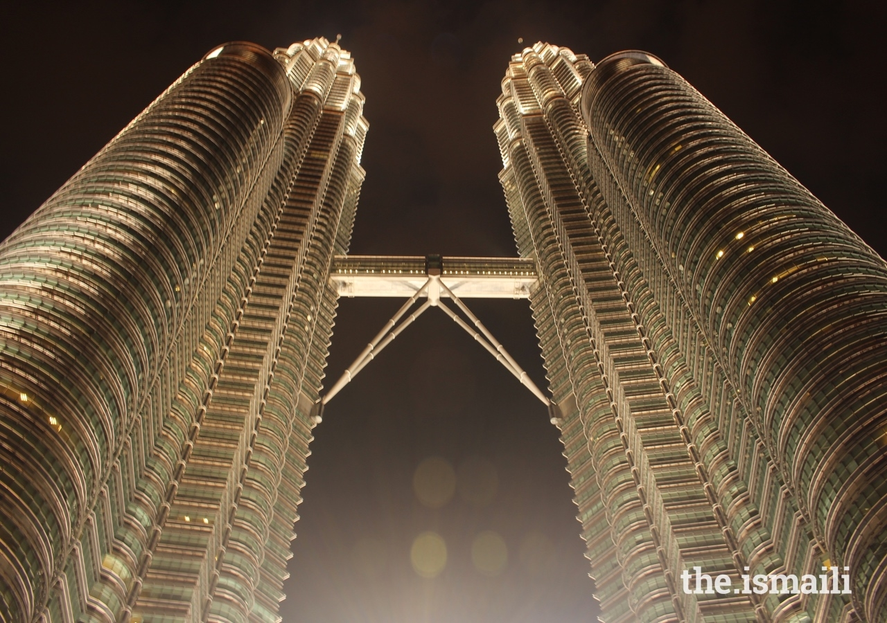 The Petronas Towers in Kuala Lumpur was presented with an Aga Khan Award in 2004. The cross-section of the towers based on a Rub el Hizb, a traditional Muslim symbol which consists of two squares that overlap.