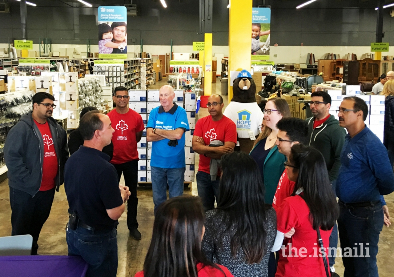 Ismaili CIVIC 150 volunteers in Edmonton during orientation at Habitat for Humanity's ReStore.