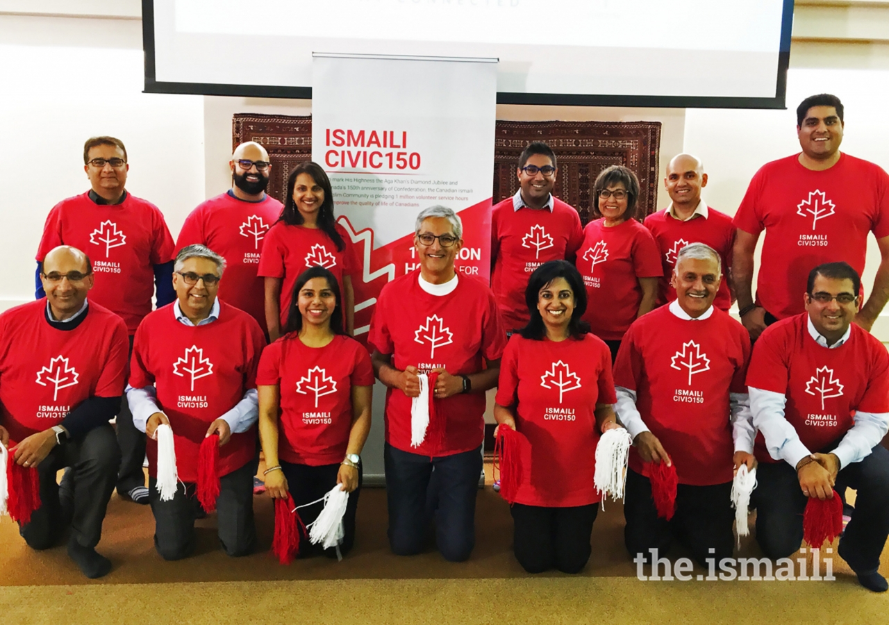 Ismaili CIVIC 150 Edmonton volunteers pose for a photo.