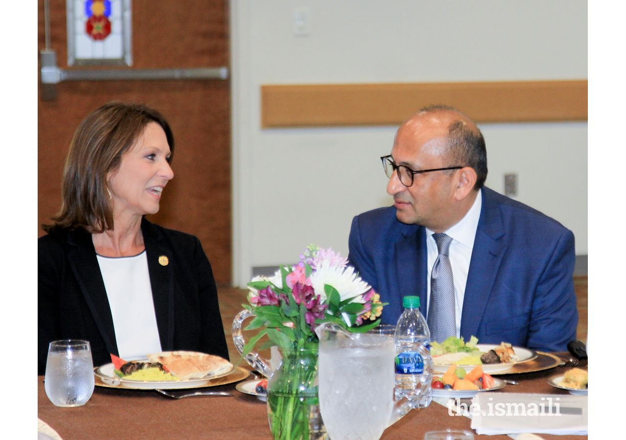 Senator Angela Paxton and Amyn Merchant discussing unique approaches of identifying talent for the Academies.