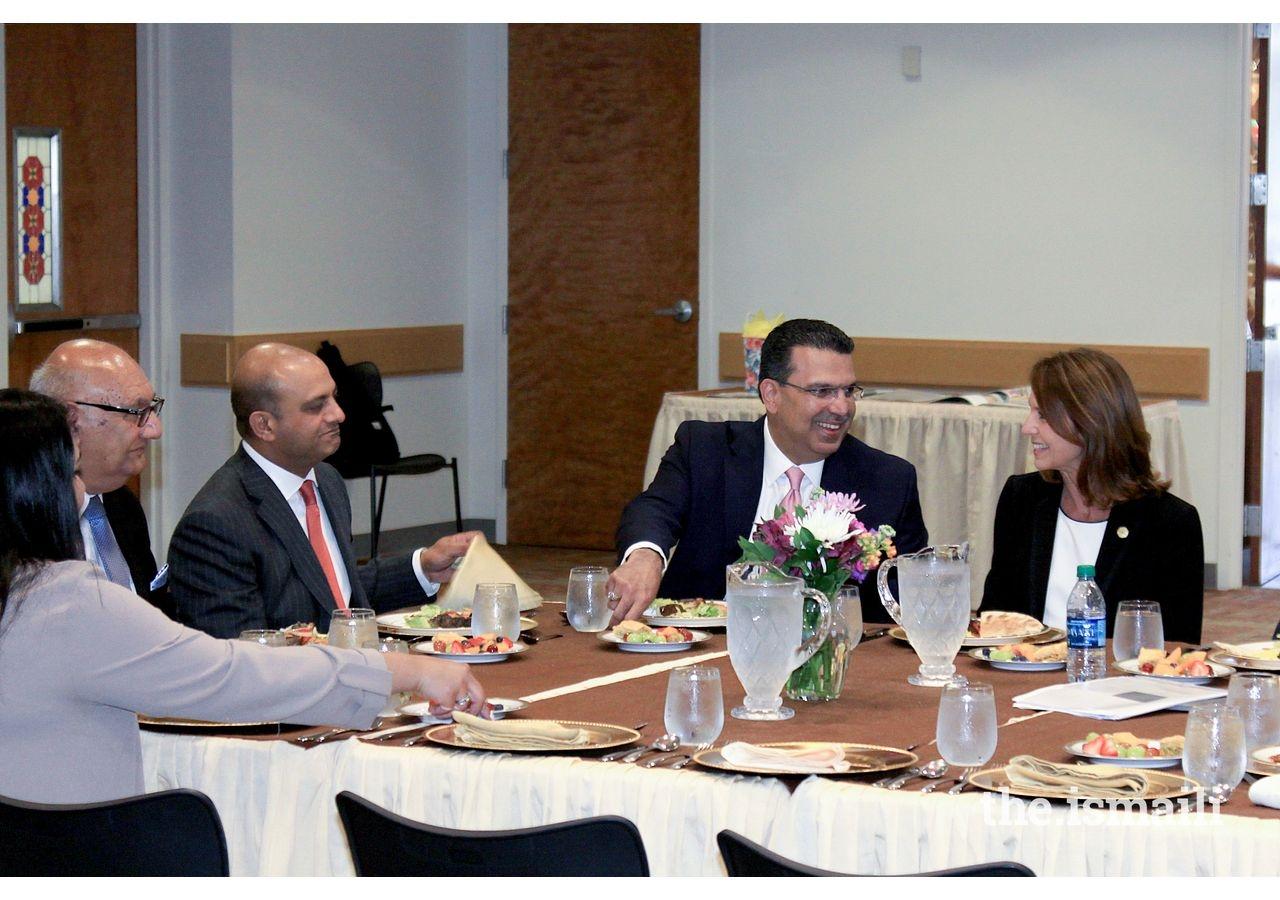 Senator Paxton, President Didarali, and AOC Steering Committee member, Rizwan Sheikh, in conversation at Plano Jamatkhana.