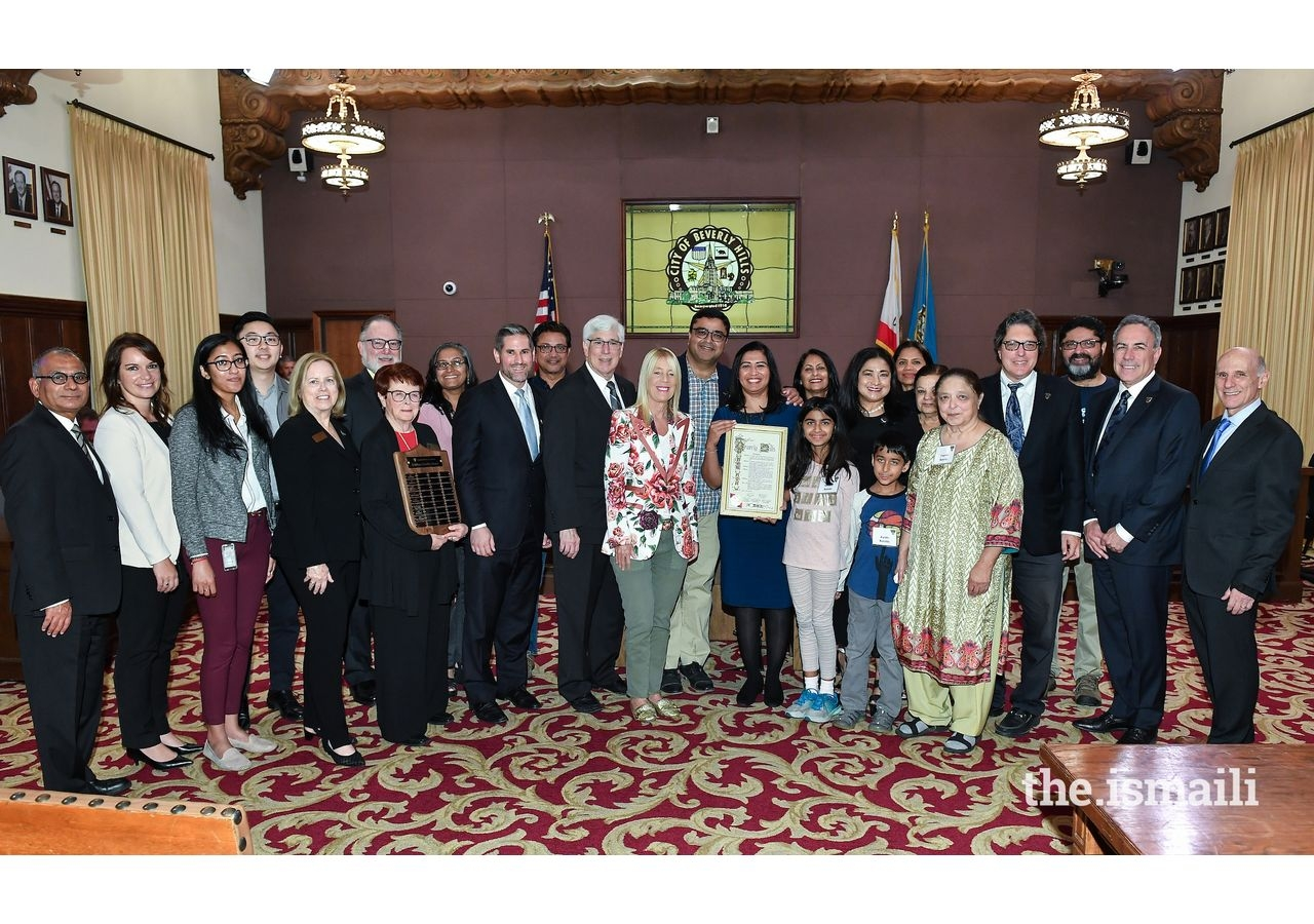 Sharmin Barolia seen with Beverly Hills civic leaders, friends, family and Jamati members.
