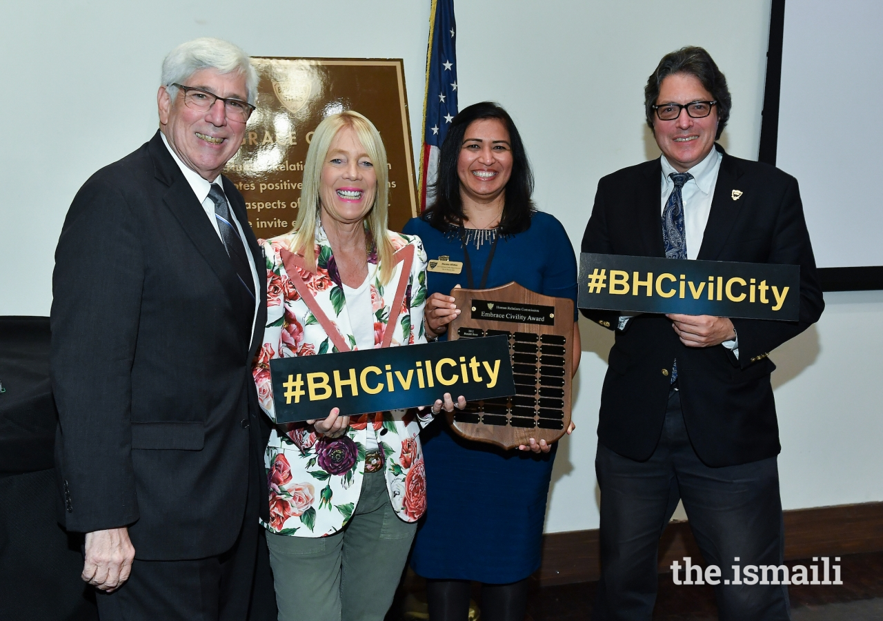 Sharmina Barolia alongside Beverly Hills Councilmember Dr. Julian Gold,  Lili Bosse, and Mayor John Mirisch.