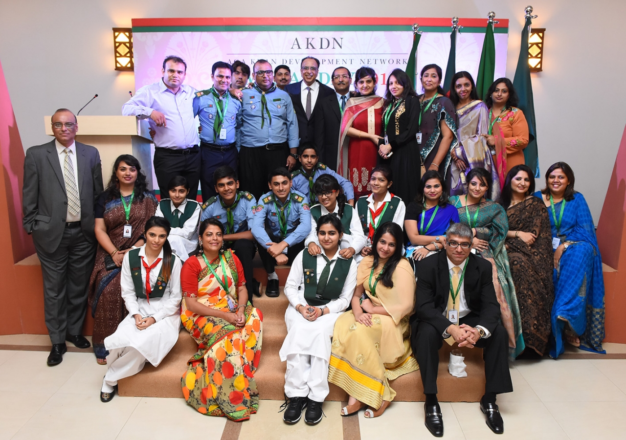 AKDN staff and volunteers gather for a photograph at the Imamat Day reception, which also marked the first anniversary of the Office of the AKDN Resident Representative in Bangladesh. AKDN