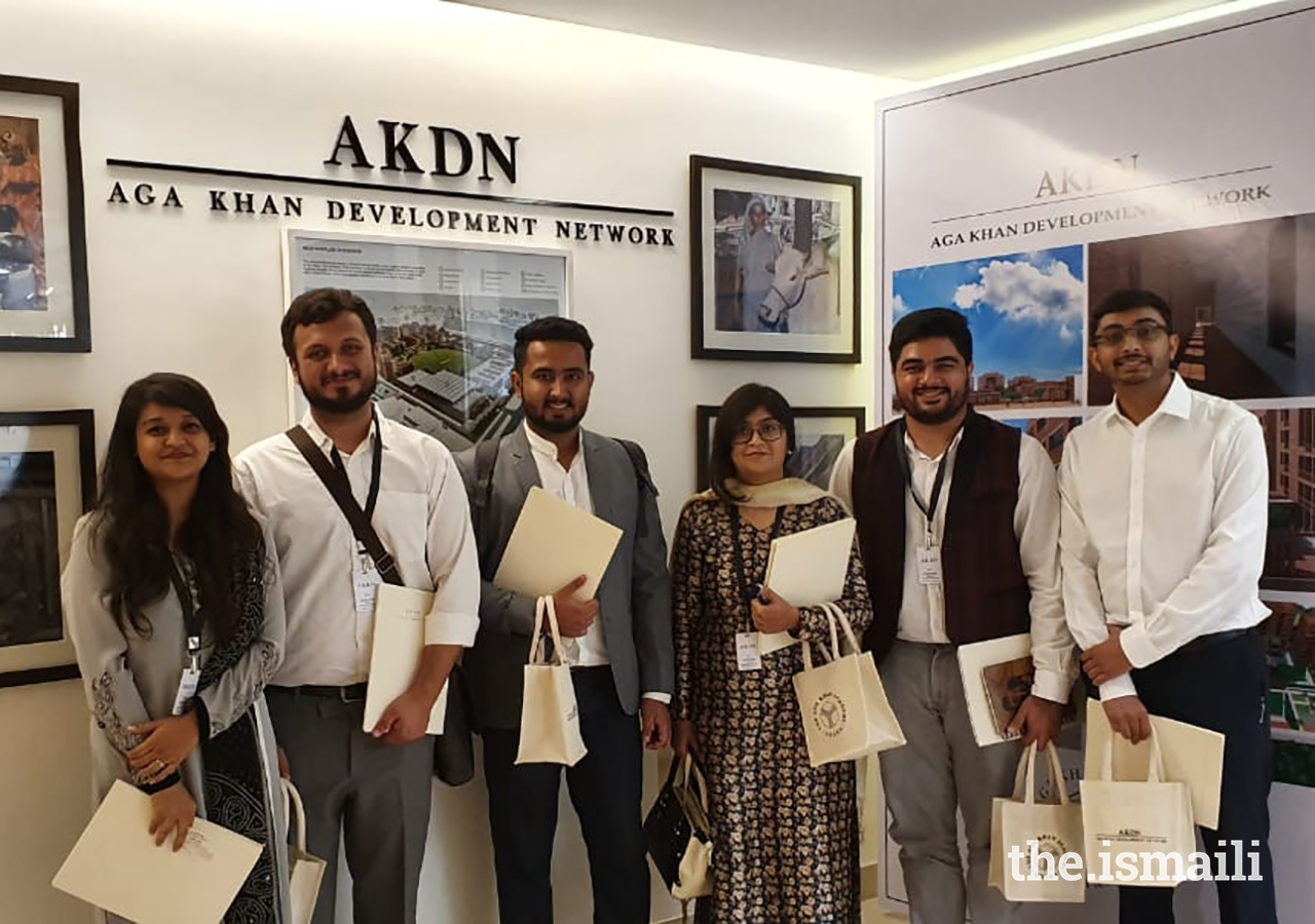 Participants of the immersion programme at the AKDN Office in Dhaka. From left to right: Sumaila Topan, Raj Charaniya, Muizz Rupani, Raeesa Patel, Jiyan Pattharwala and Asif Bhanwadia.