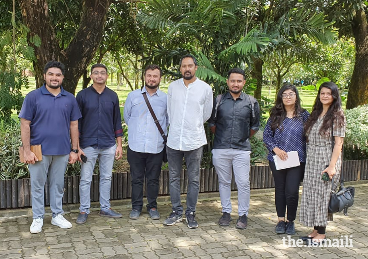 With Jubair Hasan (centre). Mr Hasan's project, the Amber Denim Loom Shed, was shortlisted for the 2019 Aga Khan Award for Architecture. Mr Hasan spent the day with the group, taking them around his principal projects.