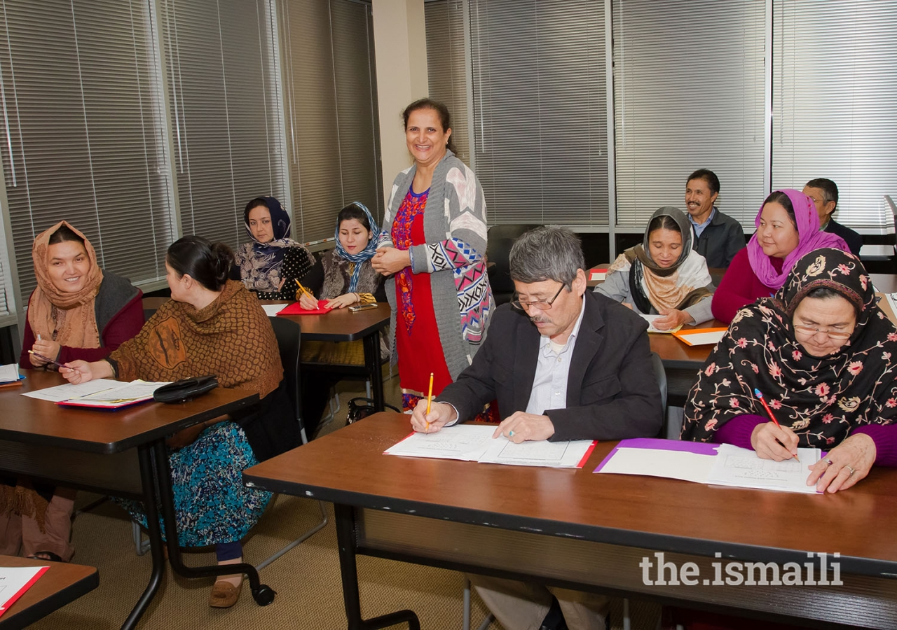 Members of the Jamat at an English as a Second Language class.