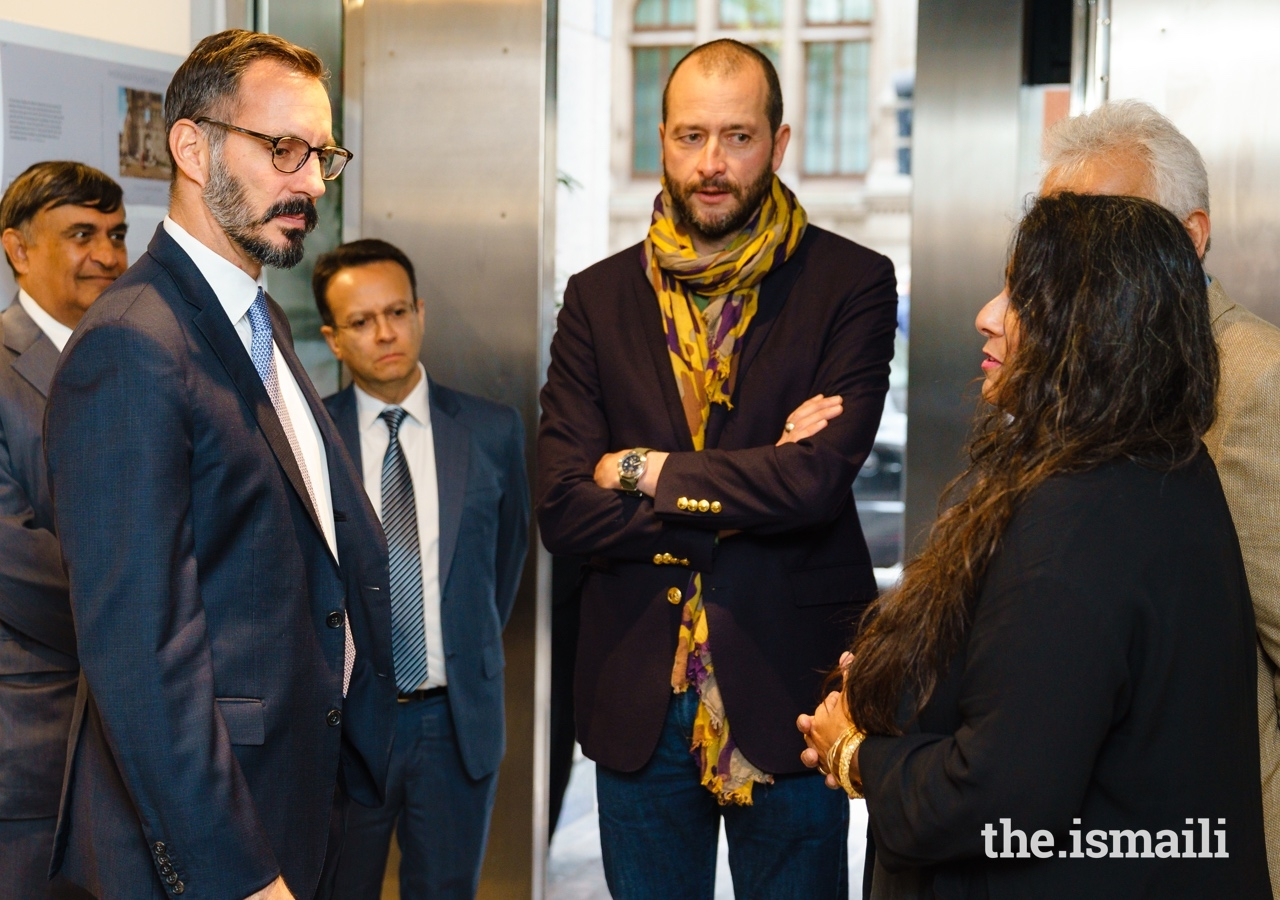 Prince Rahim in conversation with Curator Rozemin Keshvani as Guillaume Bonn looks on.