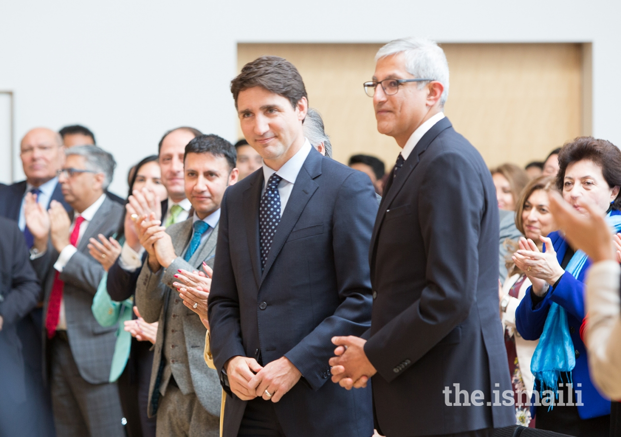 Prime Minister Trudeau with Ismaili Council for Canada President Malik Talib